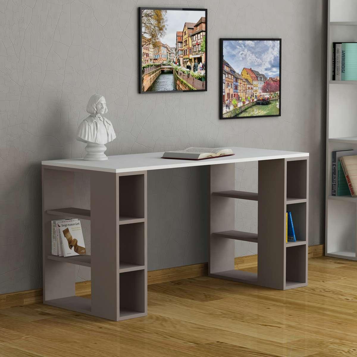 שולחן כתיבה Colmar לבן/מוקה מסדרת Decoline