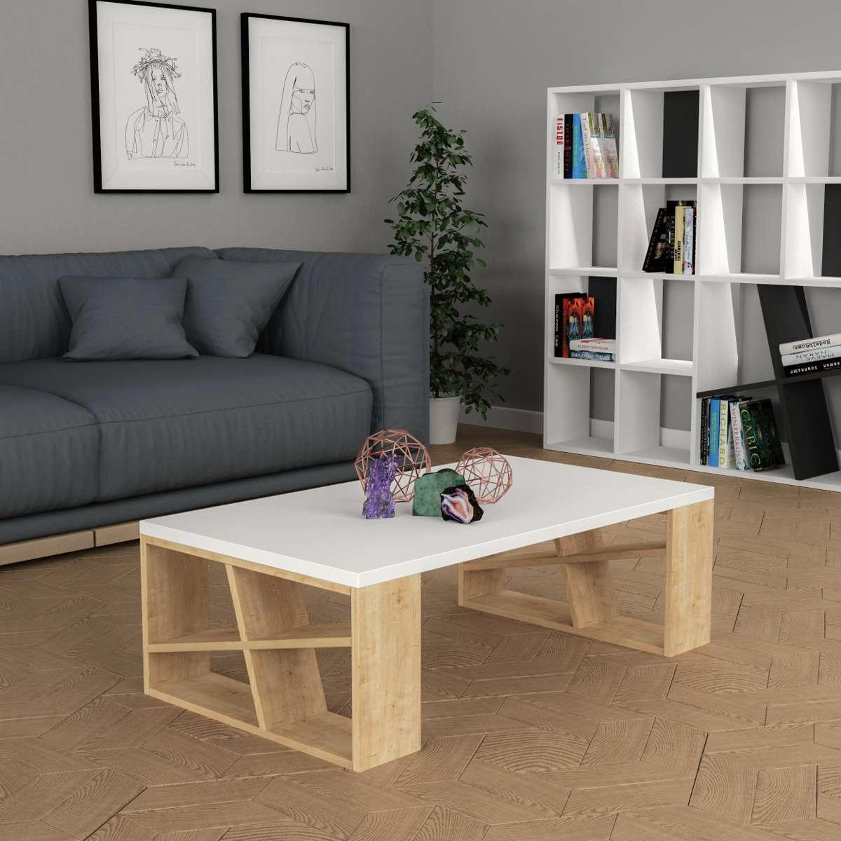 שולחן סלון Honey Coffee Table אלון/לבן מסדרת Decoline