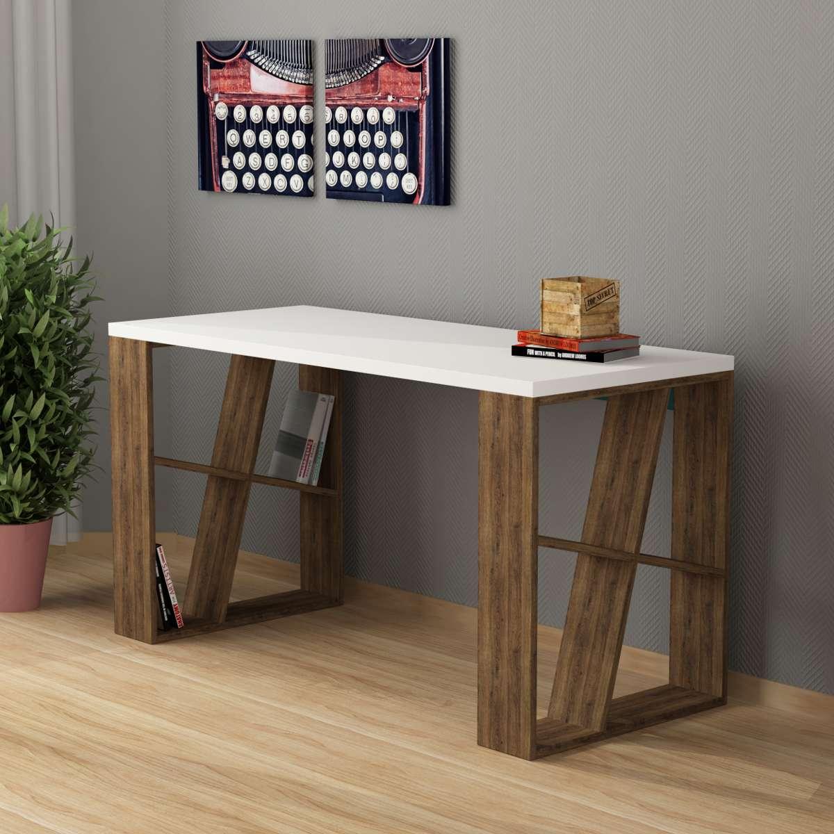 שולחן כתיבה Honey Working table  אלון כהה/לבן מסדרת Decoline