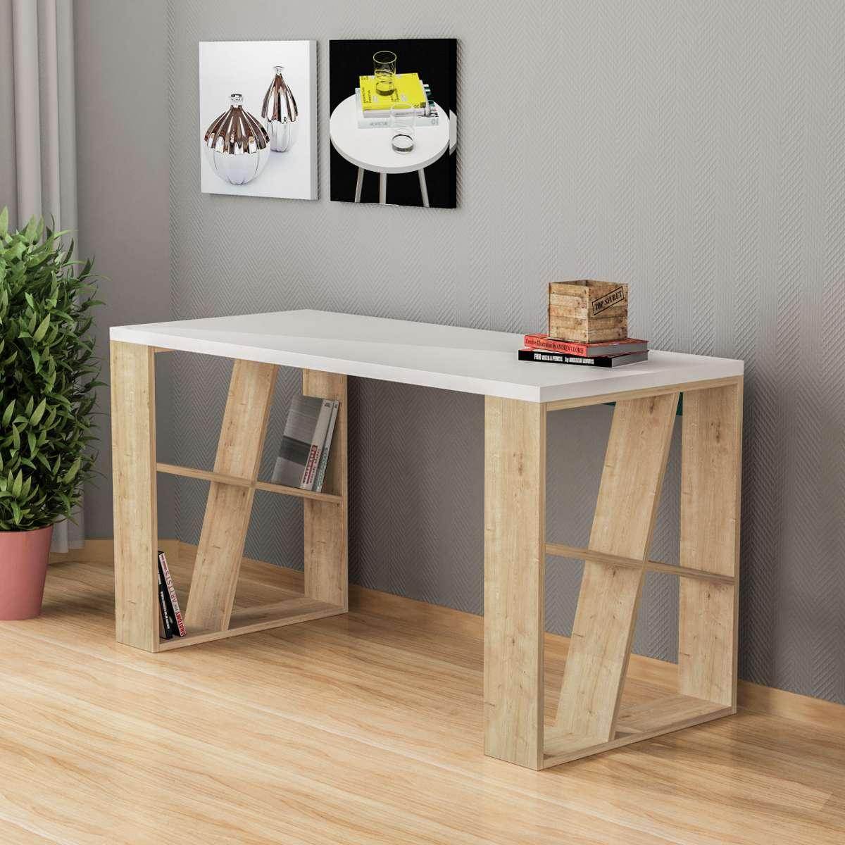 שולחן כתיבה Honey Working table אלון/לבן מסדרת Decoline