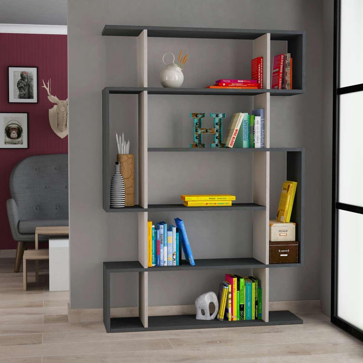 כוננית Mito Bookcase אפור/מוקה מסדרת Decoline