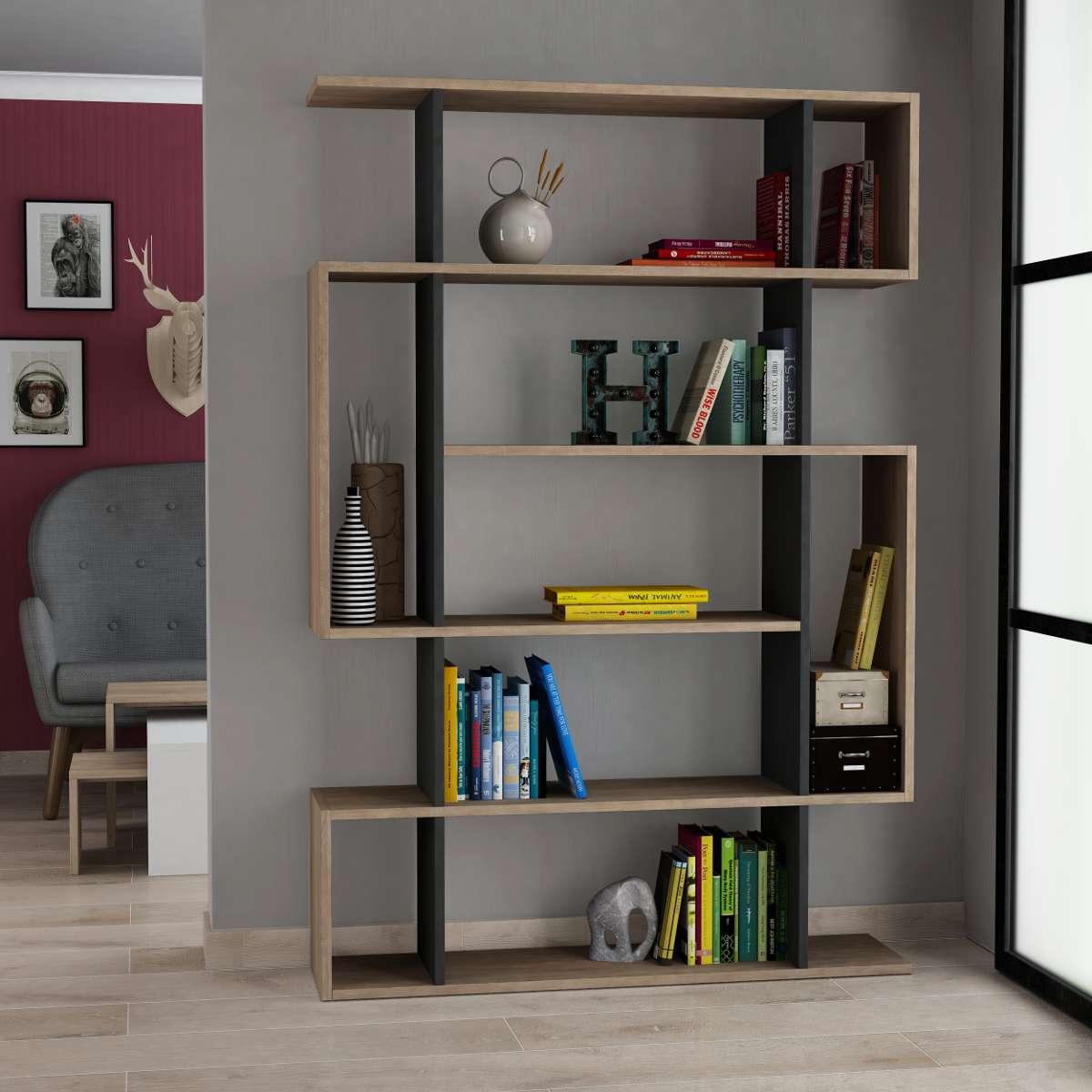 כוננית Mito Bookcase אלון/אפור מסדרת Decoline