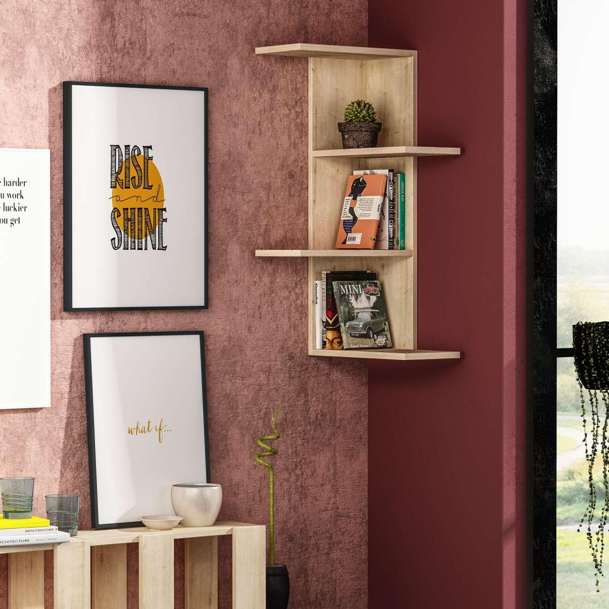 כוורת לתלייה Saso Corner Shelf אלון מסדרת Decoline