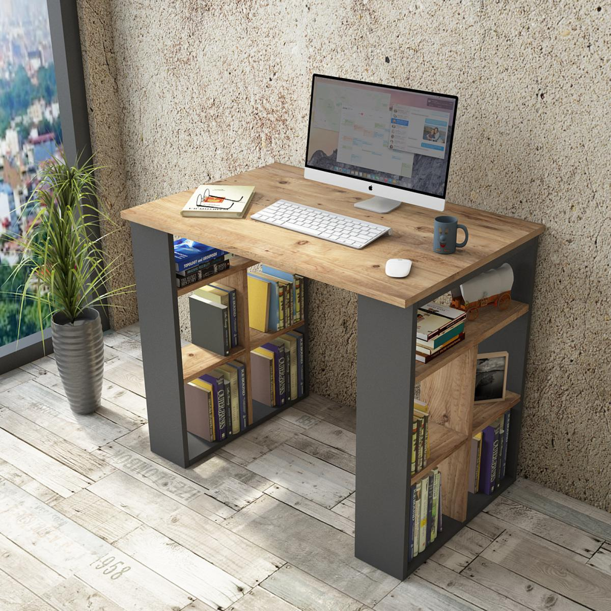 שולחן כתיבה Bremen BR1-AA אלון/אפור מסדרת Peyton
