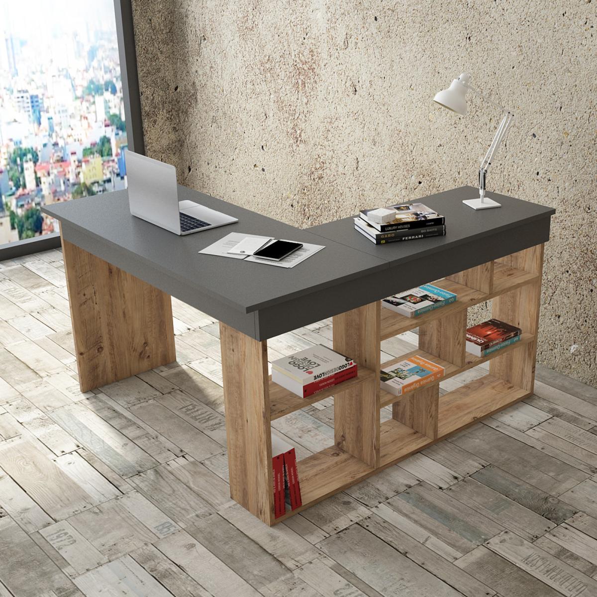שולחן כתיבה Ceto-Corner CT5-AA אלון/אפור מסדרת Peyton