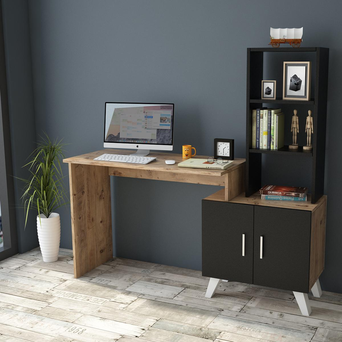 שולחן כתיבה Ceto-Large CT1-AB אלון/שחור מסדרת Peyton