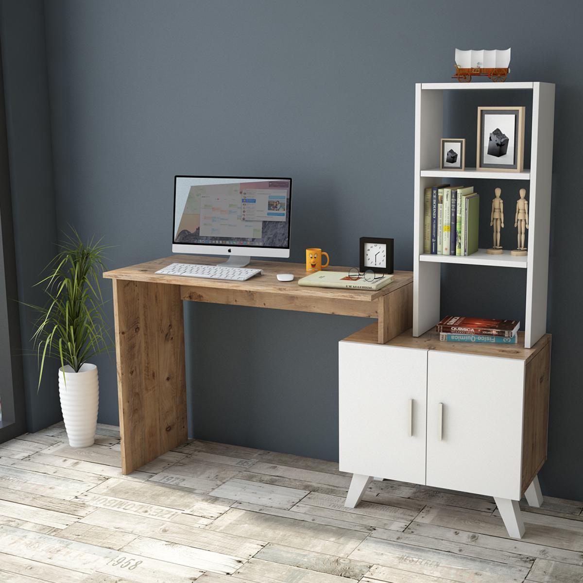 שולחן כתיבה Ceto-Large CT1-AW אלון/לבן מסדרת Peyton
