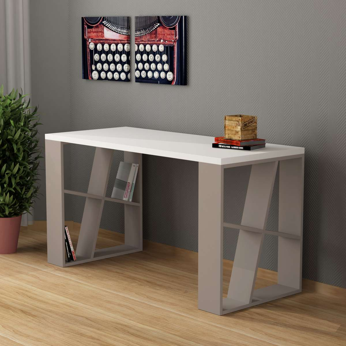 שולחן כתיבה Honey Working table מוקה/לבן מסדרת Decoline