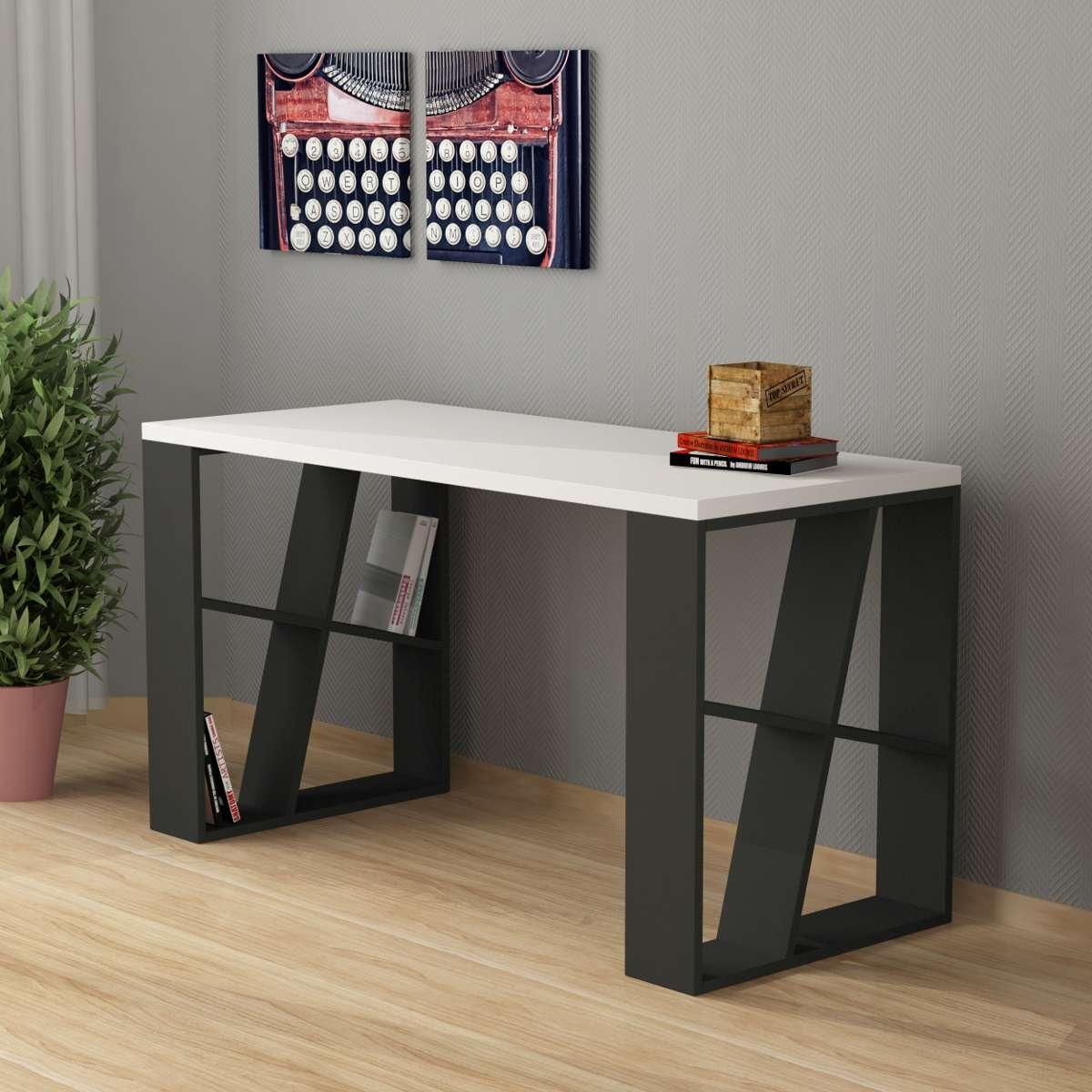 שולחן כתיבה Honey Working table אפור/לבן מסדרת Decoline