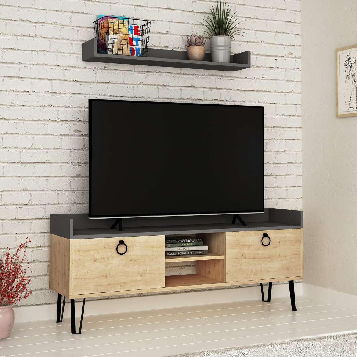 מזנון טלוויזיה עם מדף Keday אלון/אפור 140 ס