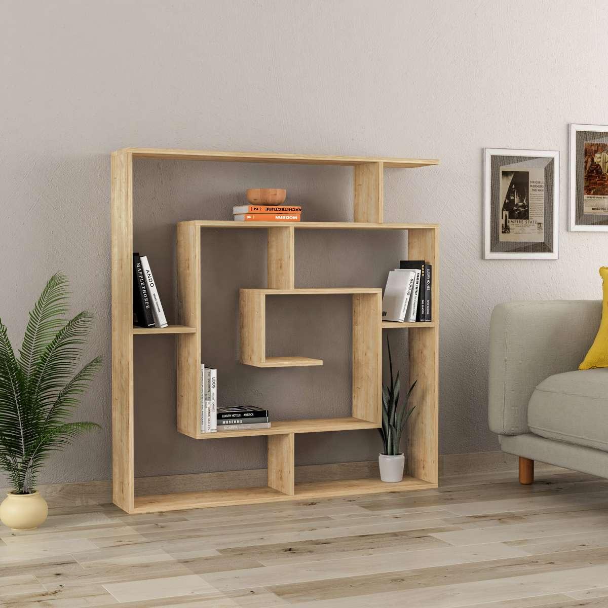 כוורת מדפים Labirent Bookcase אלון מסדרת Decoline
