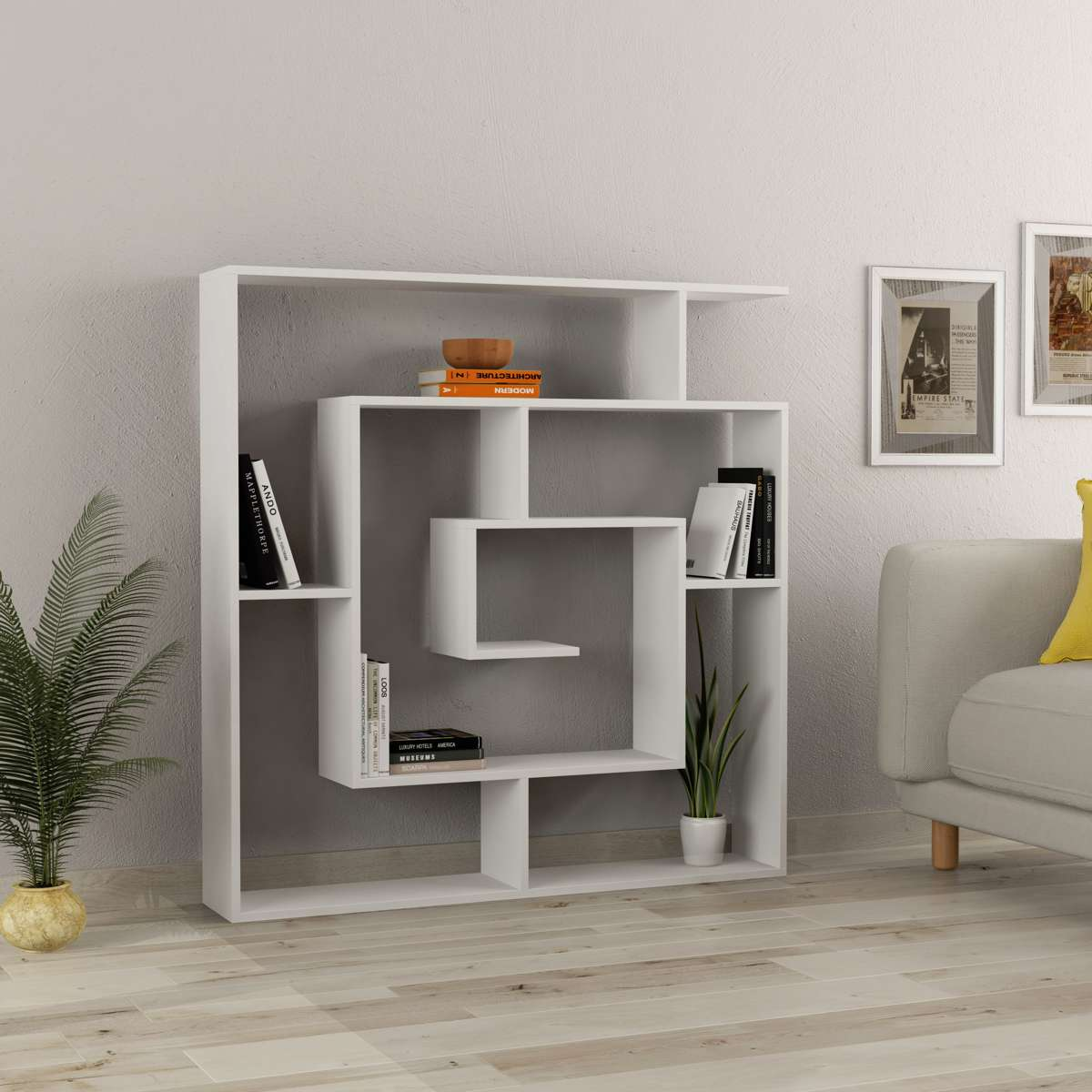 כוורת מדפים Labirent Bookcase לבן מסדרת Decoline