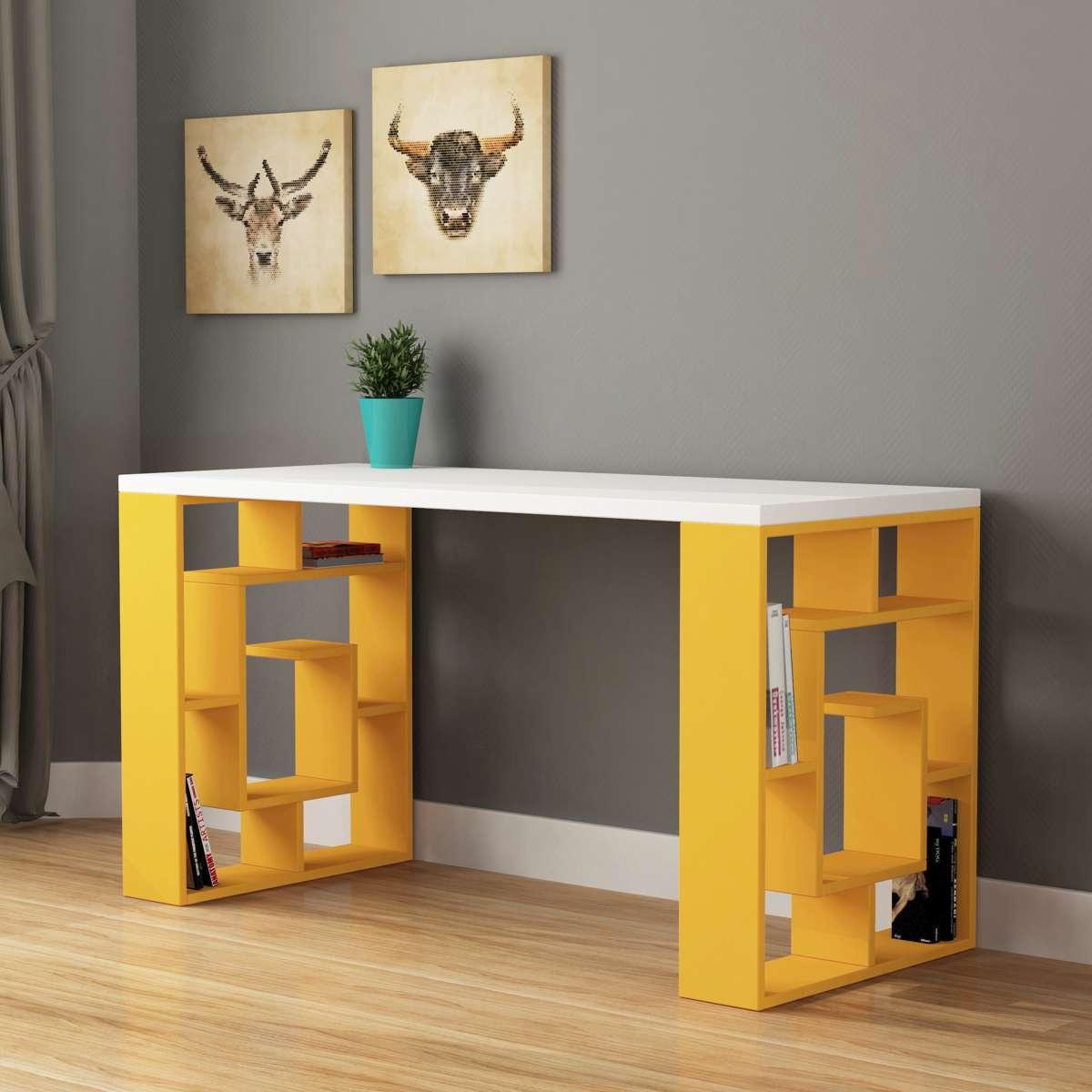 שולחן כתיבה Labirent Working table צהוב/לבן מסדרת Decoline