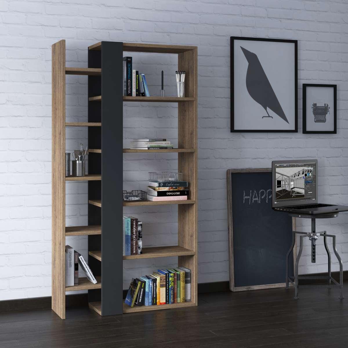 כוננית Lift Bookcase אלון כהה/אפור מסדרת Decoline