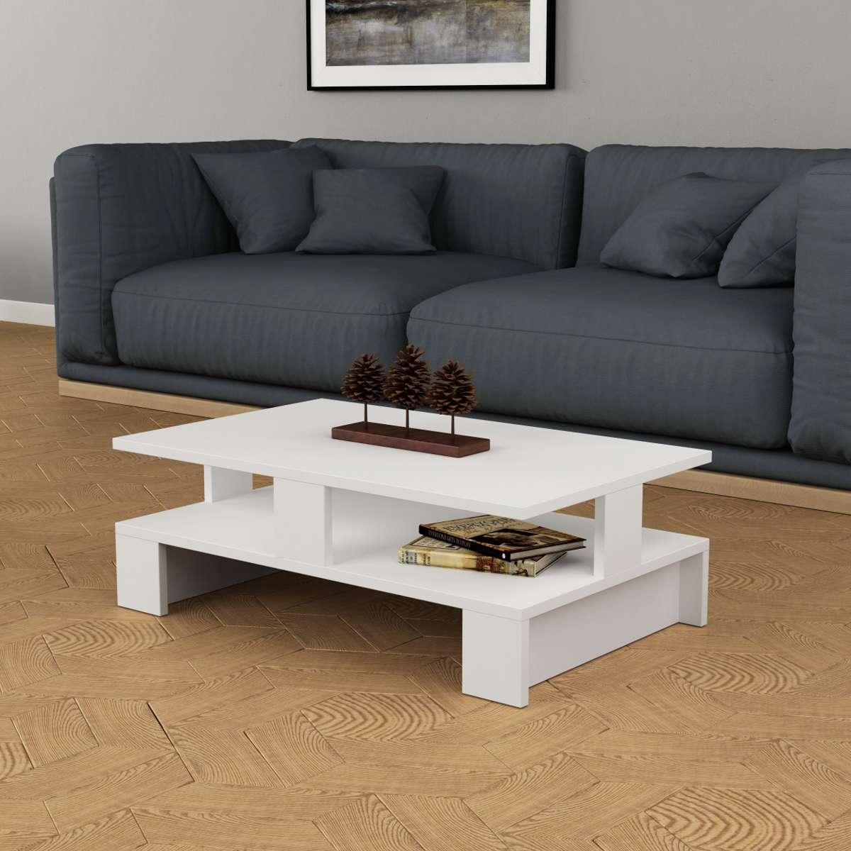 שולחן סלון Mansu לבן מסדרת Decoline