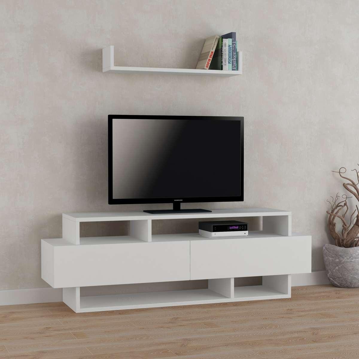 מזנון טלוויזיה עם מדף Rela לבן 125ס