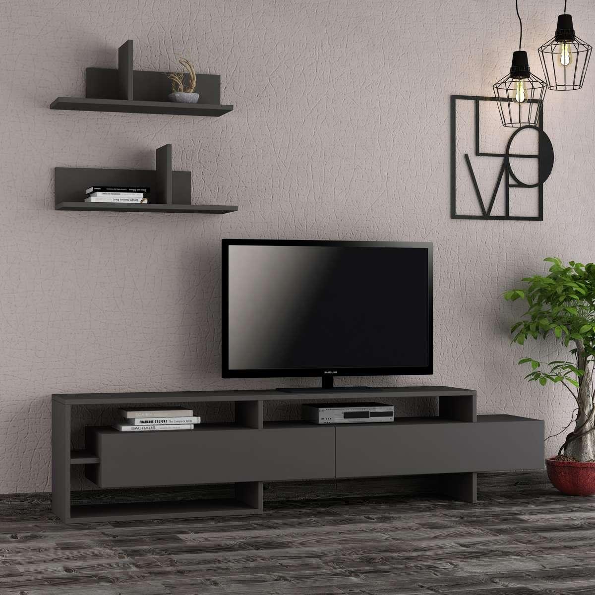 מזנון טלוויזיה עם מדפים Gara אפור 180ס