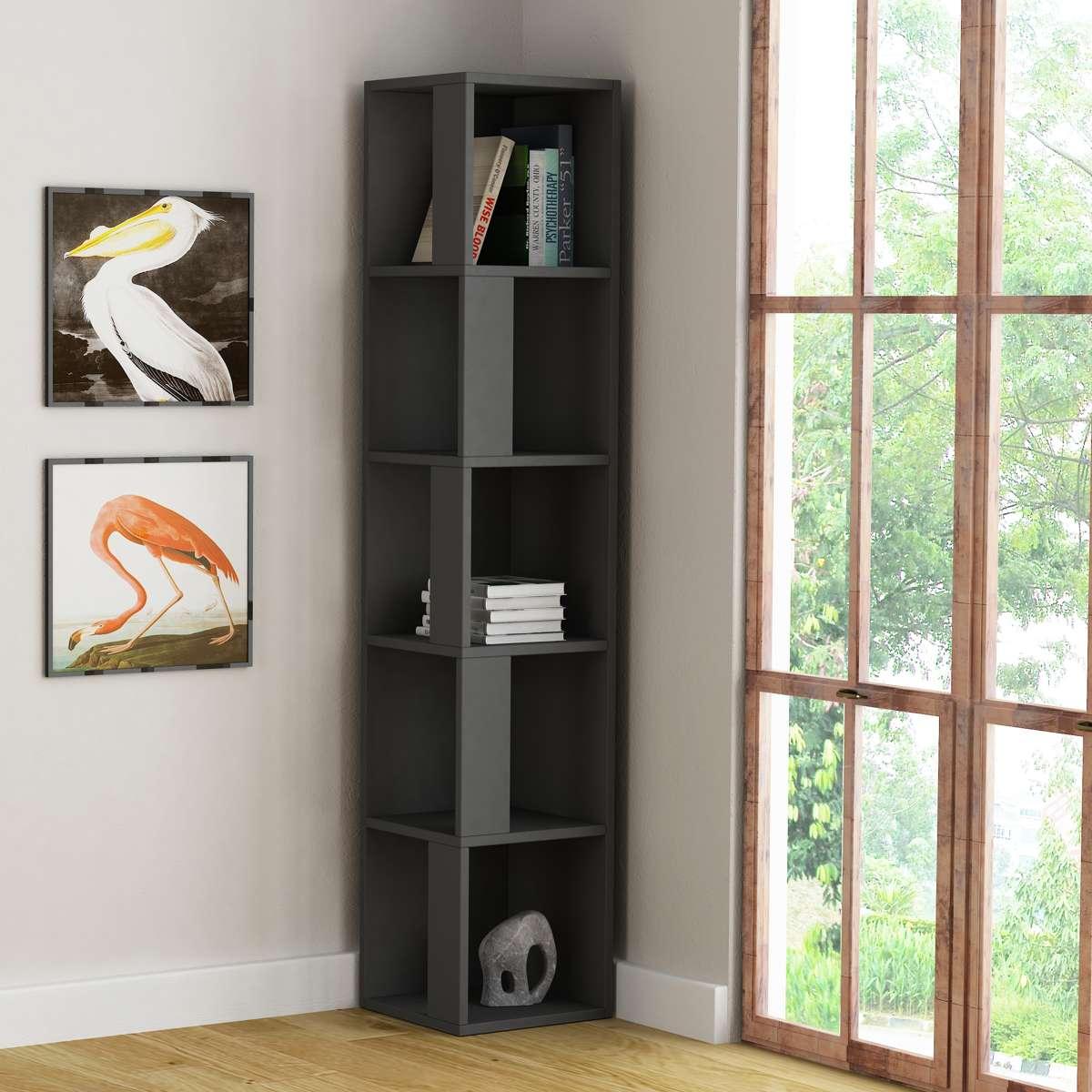 כוננית פינתית Piano Bookcase אפור מסדרת Decoline