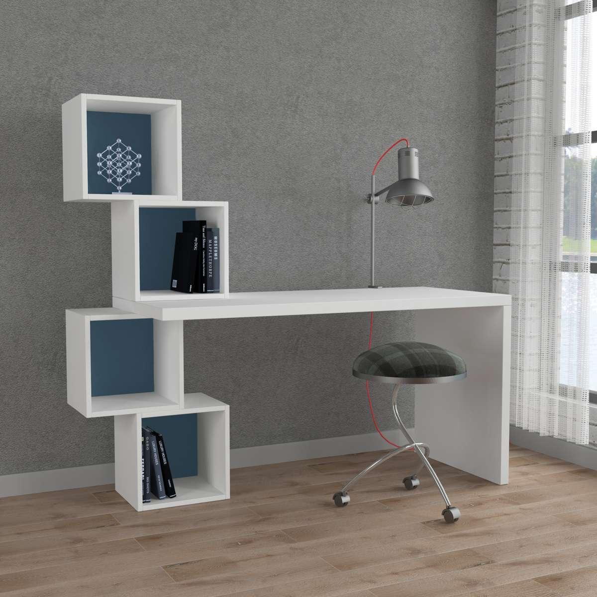 שולחן כתיבה Balance Working table לבן/טורקיז מסדרת Decoline