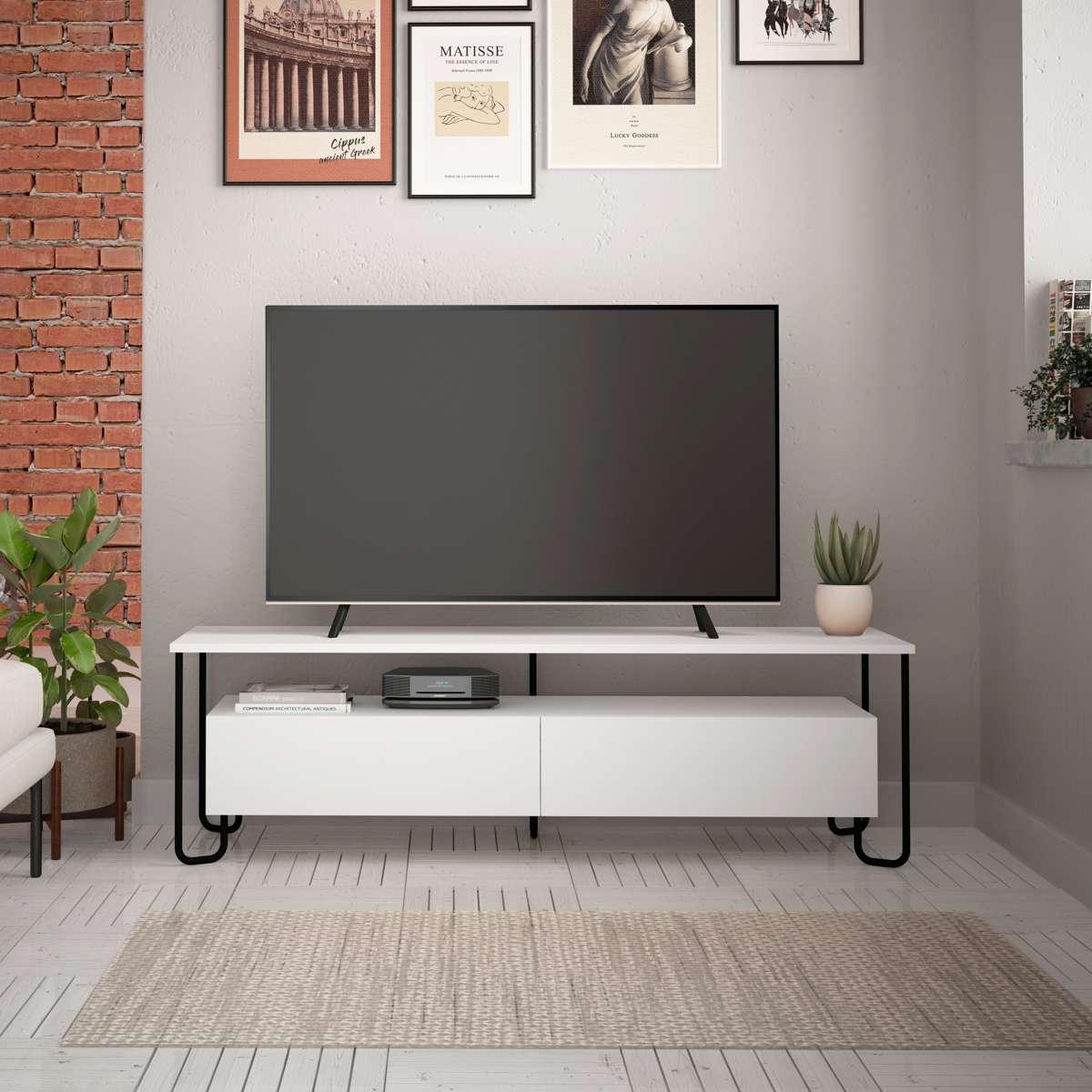 מזנון טלוויזיה פינתי Cornea TV לבן 150 ס