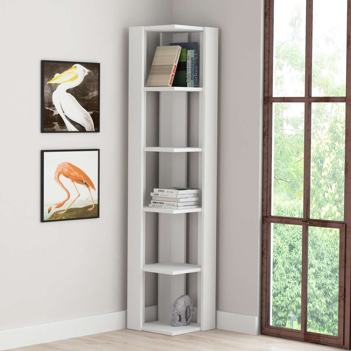 כוננית פינתית Nati Corner Bookcase לבן מסדרת Decoline