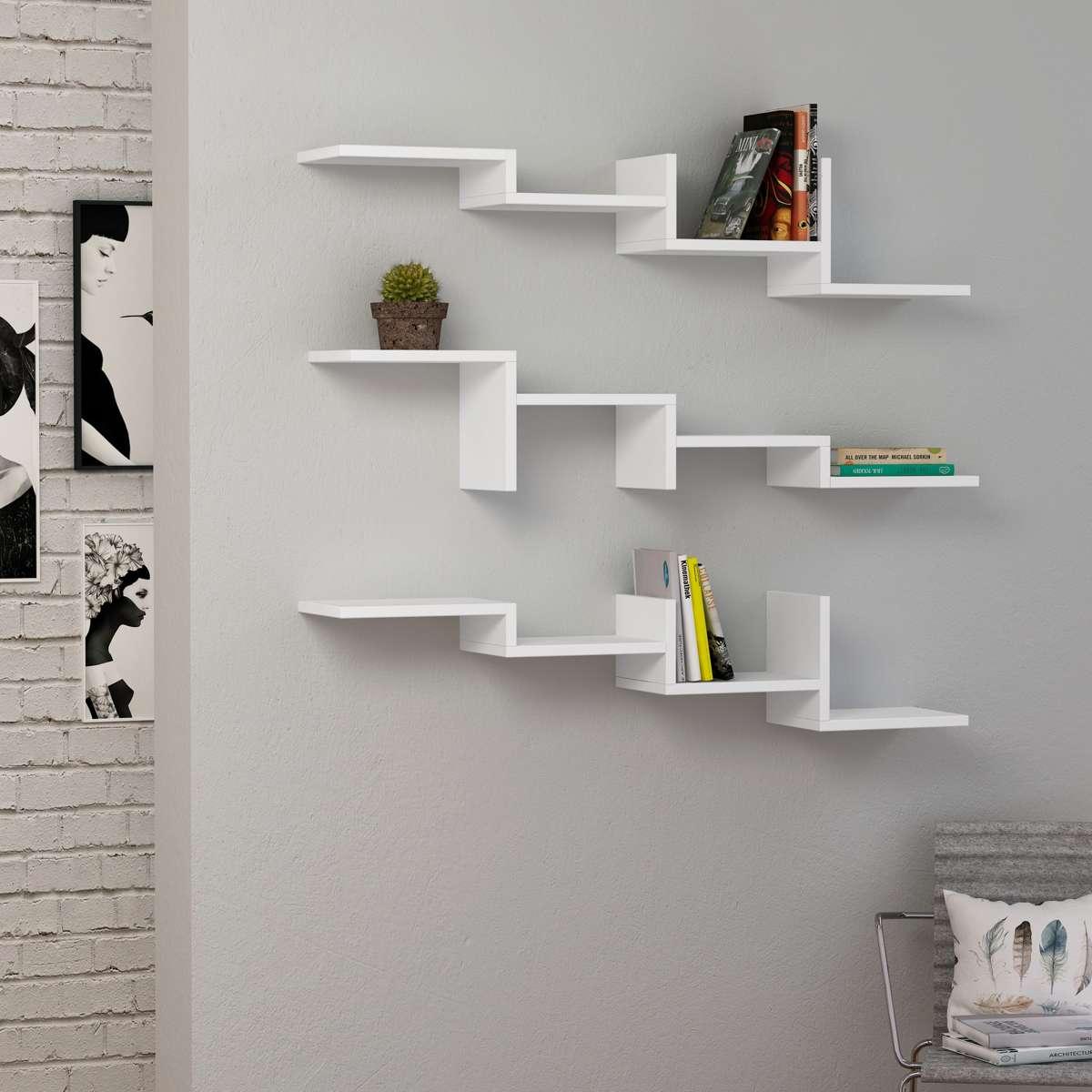 סט 3 כוורות לתלייה Step Shelf לבן מסדרת Decoline