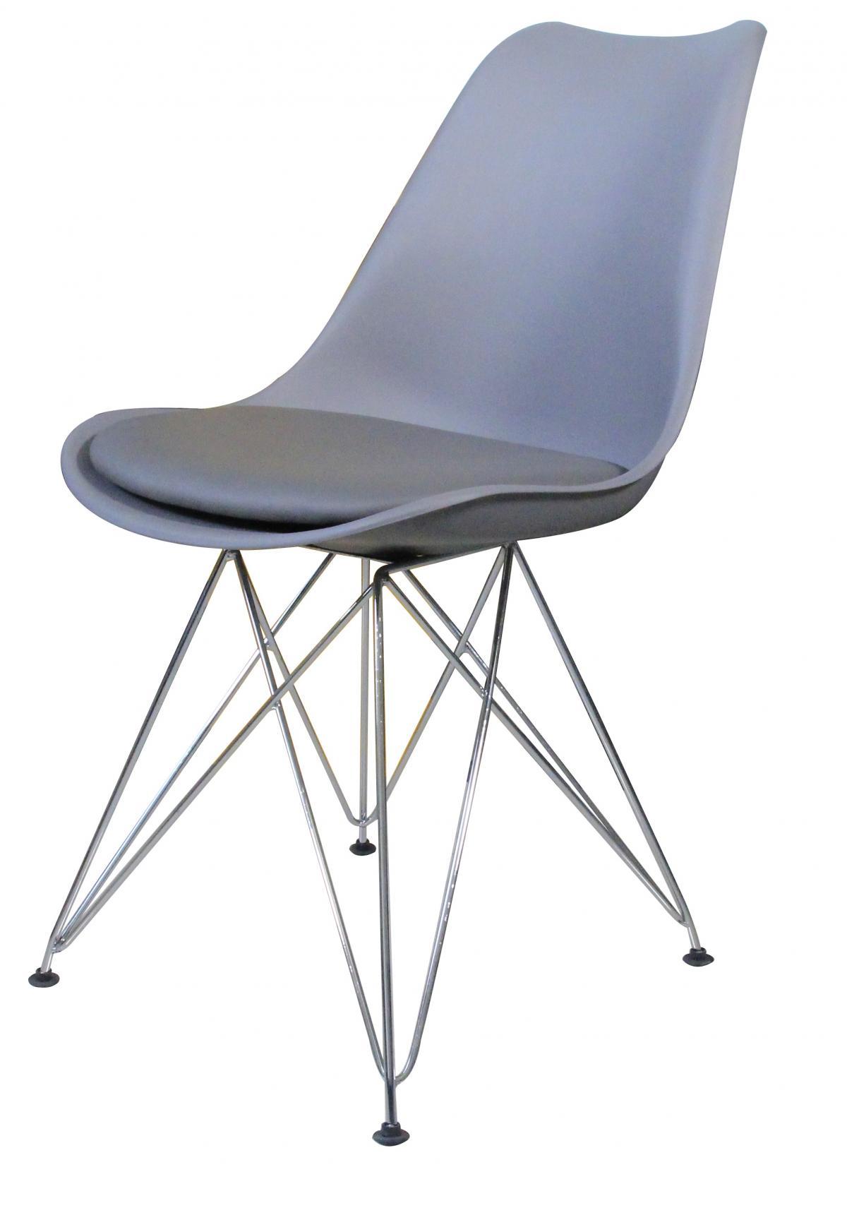 כיסא לפינת אוכל דגם Metal Tulip אפור