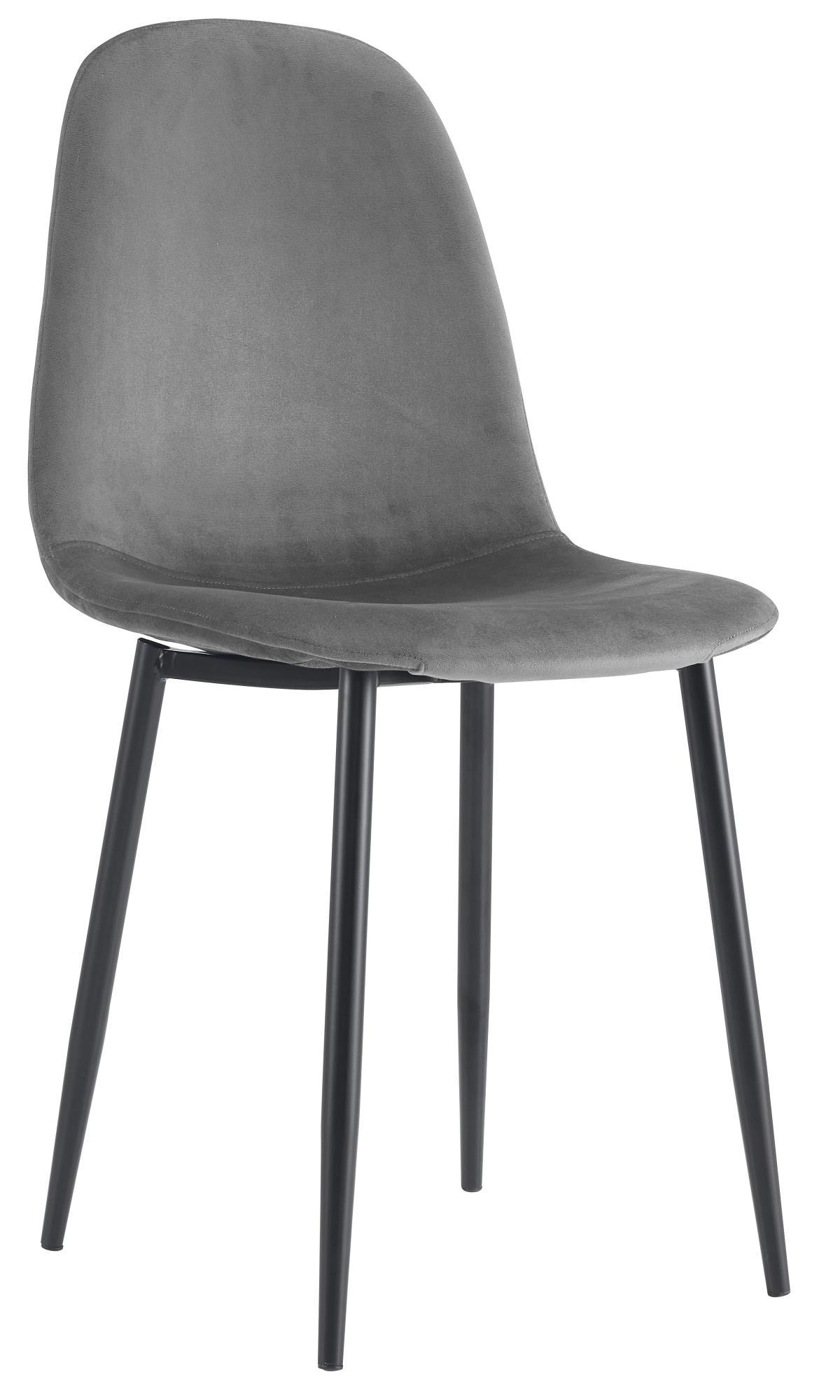 כסא לפינת אוכל דגם SOLNA בד קטיפתי אפור