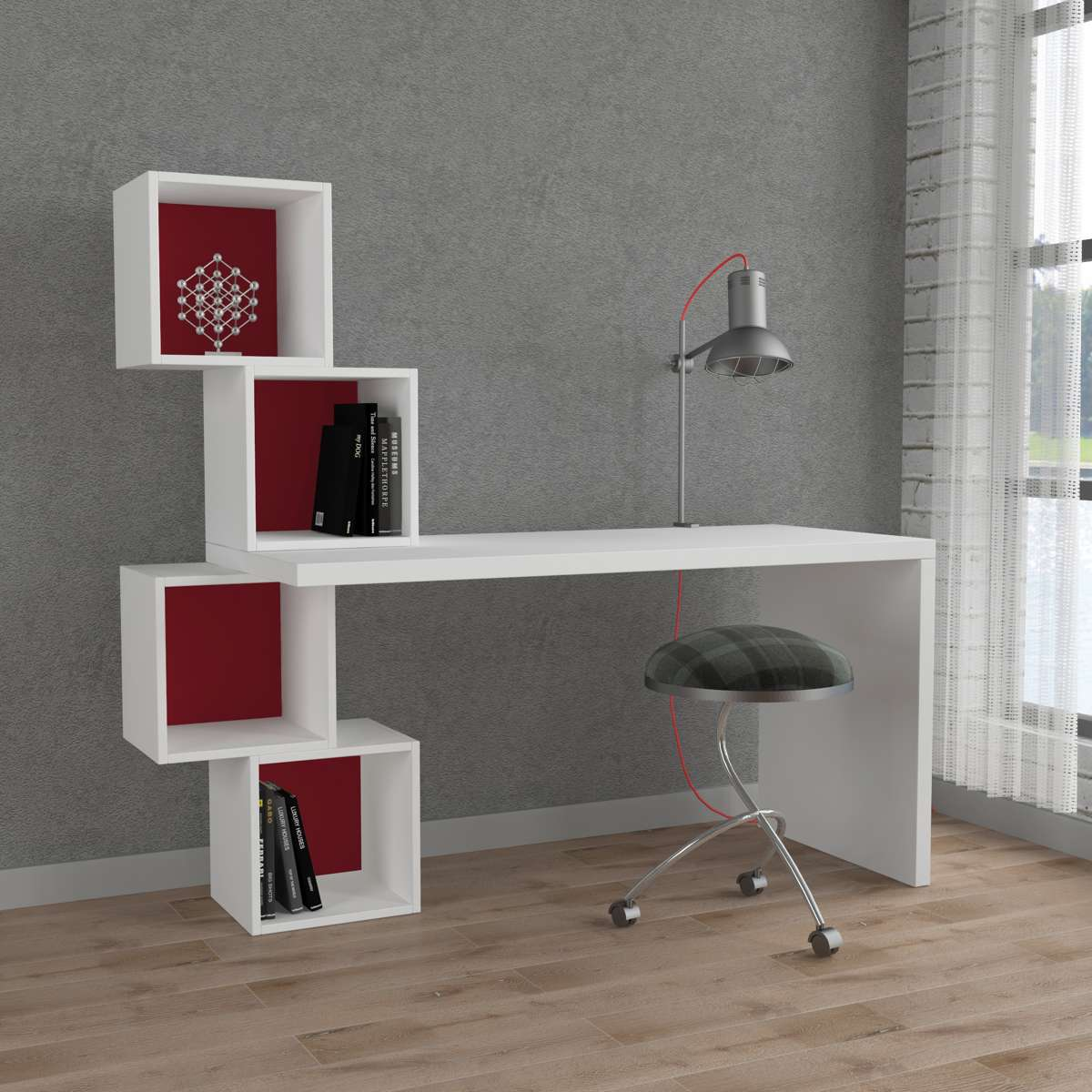 שולחן כתיבה Balance Working table לבן/אדום מסדרת Decoline