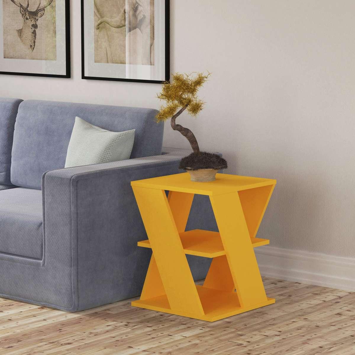שולחן צד Cyclo צהוב מסדרת Decoline