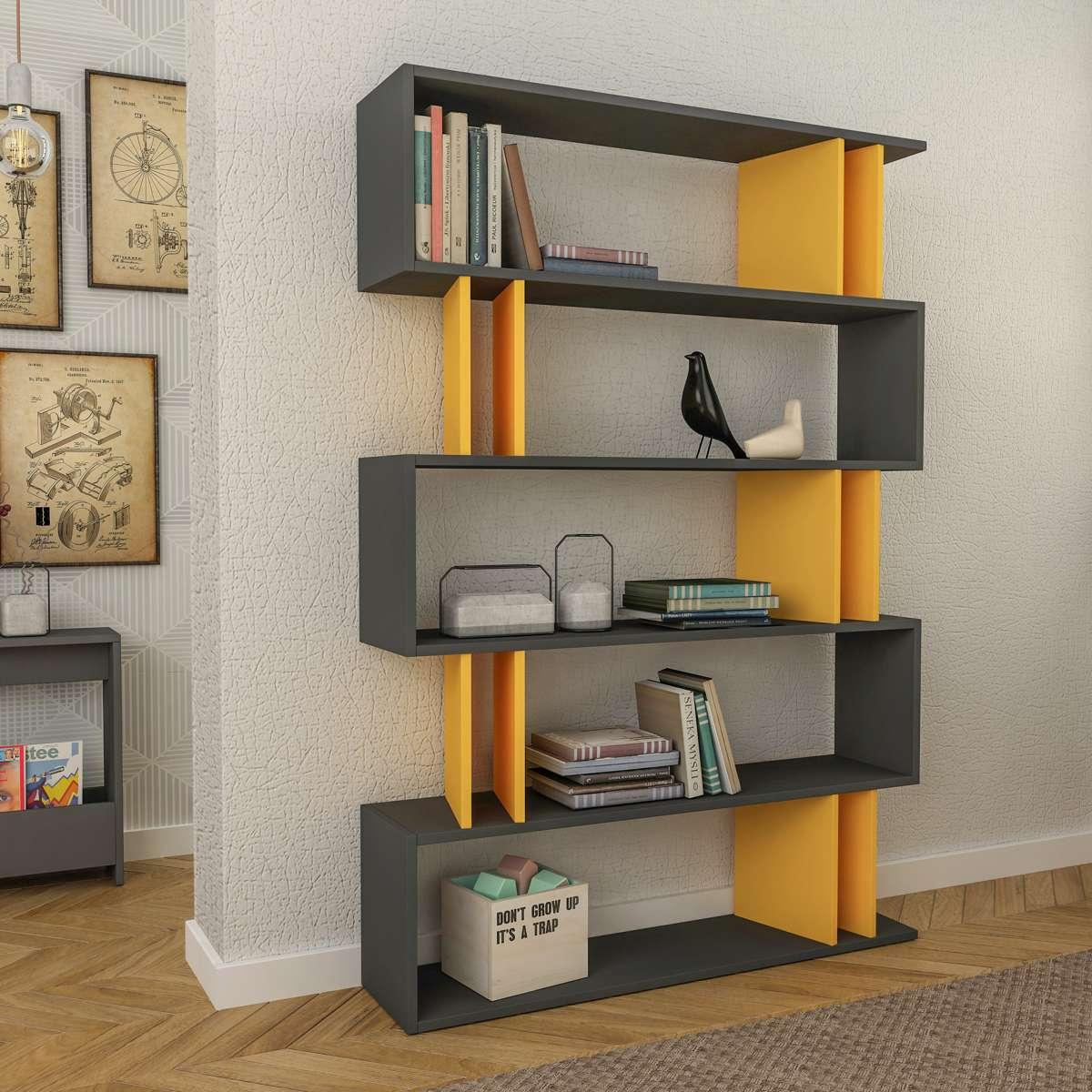 כוננית Partiro Bookcase אפור/צהוב מסדרת Decoline