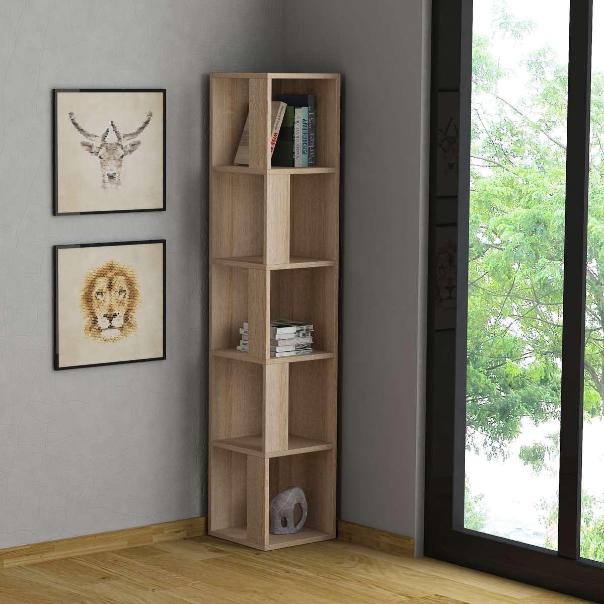 כוננית פינתית Piano Bookcase אלון מסדרת Decoline