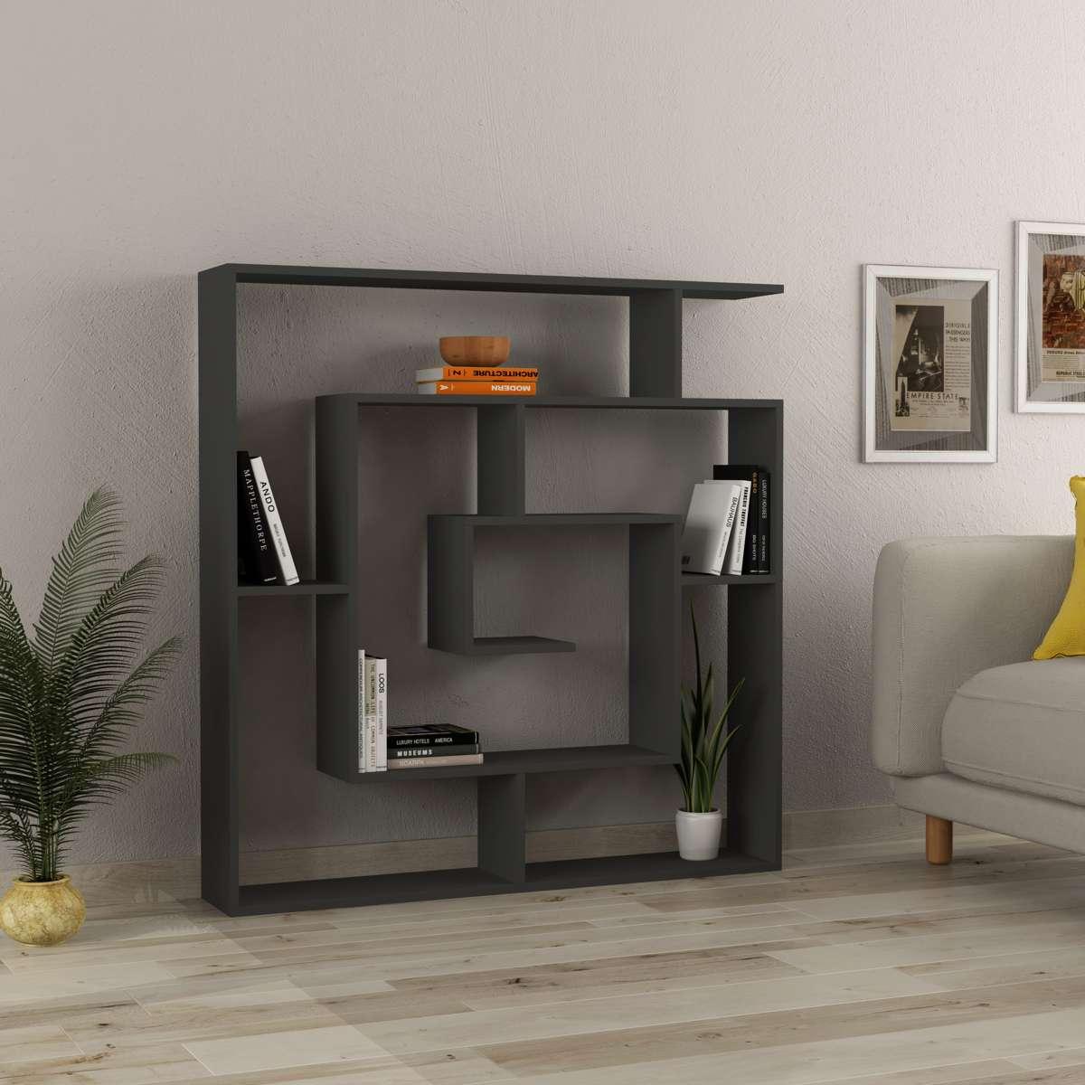 כוורת מדפים Labirent Bookcase אפור מסדרת Decoline