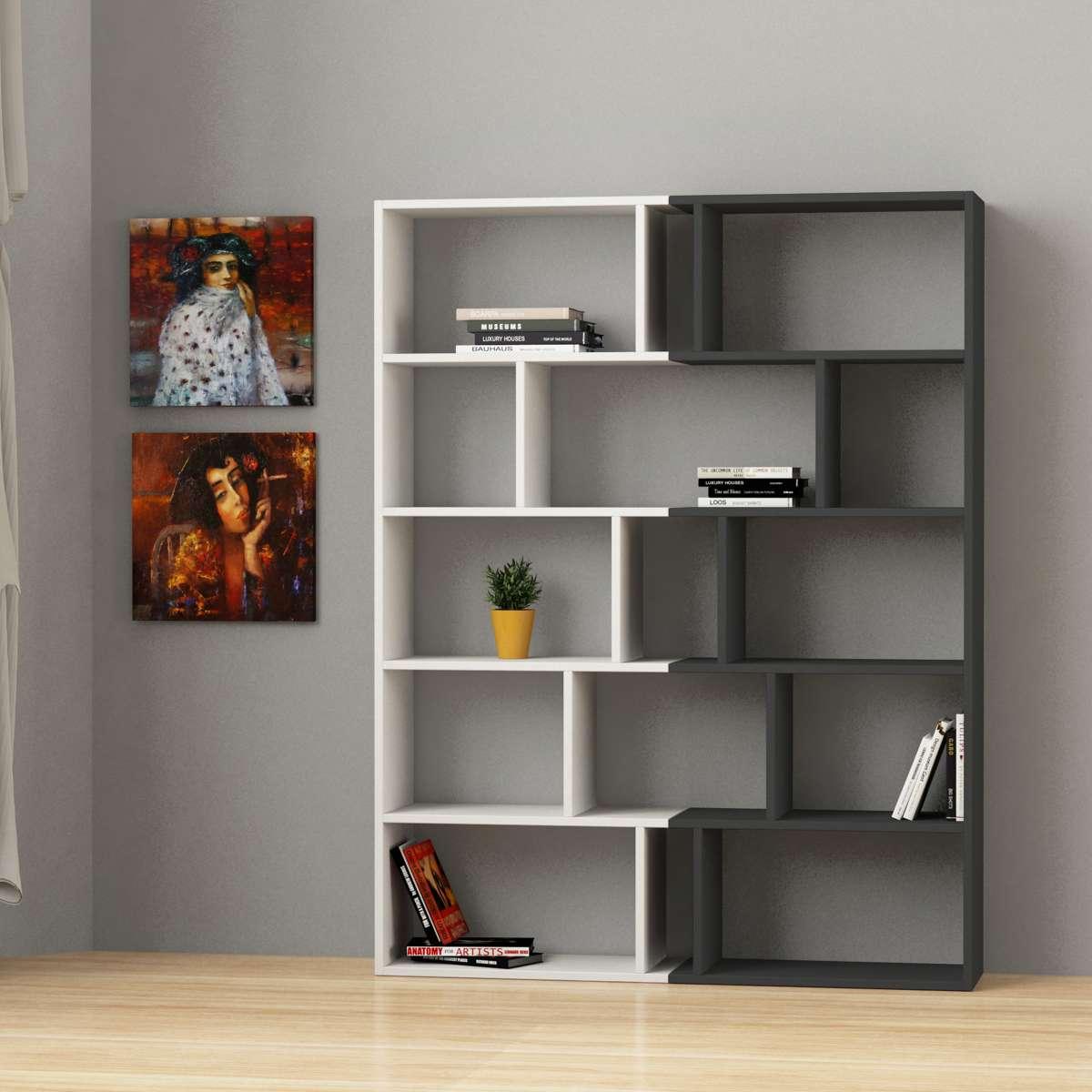 זוג כוננית  Tapi Bookcase Set of 2 לבן/אפור מסדרת Decoline