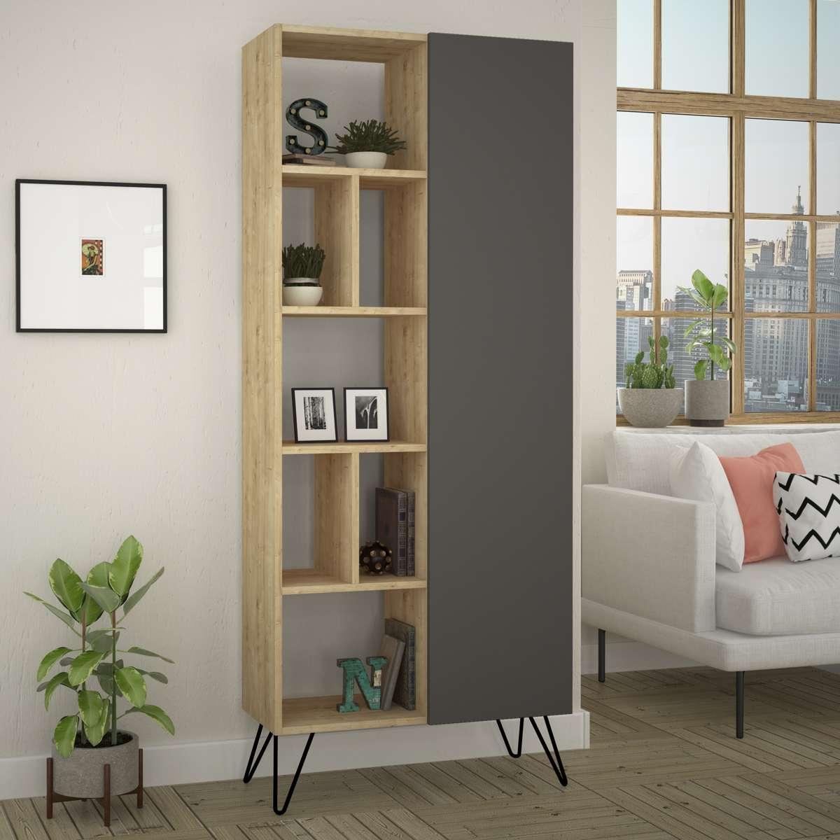 כוננית Jedda Bookcase אלון/אפור מסדרת Decoline