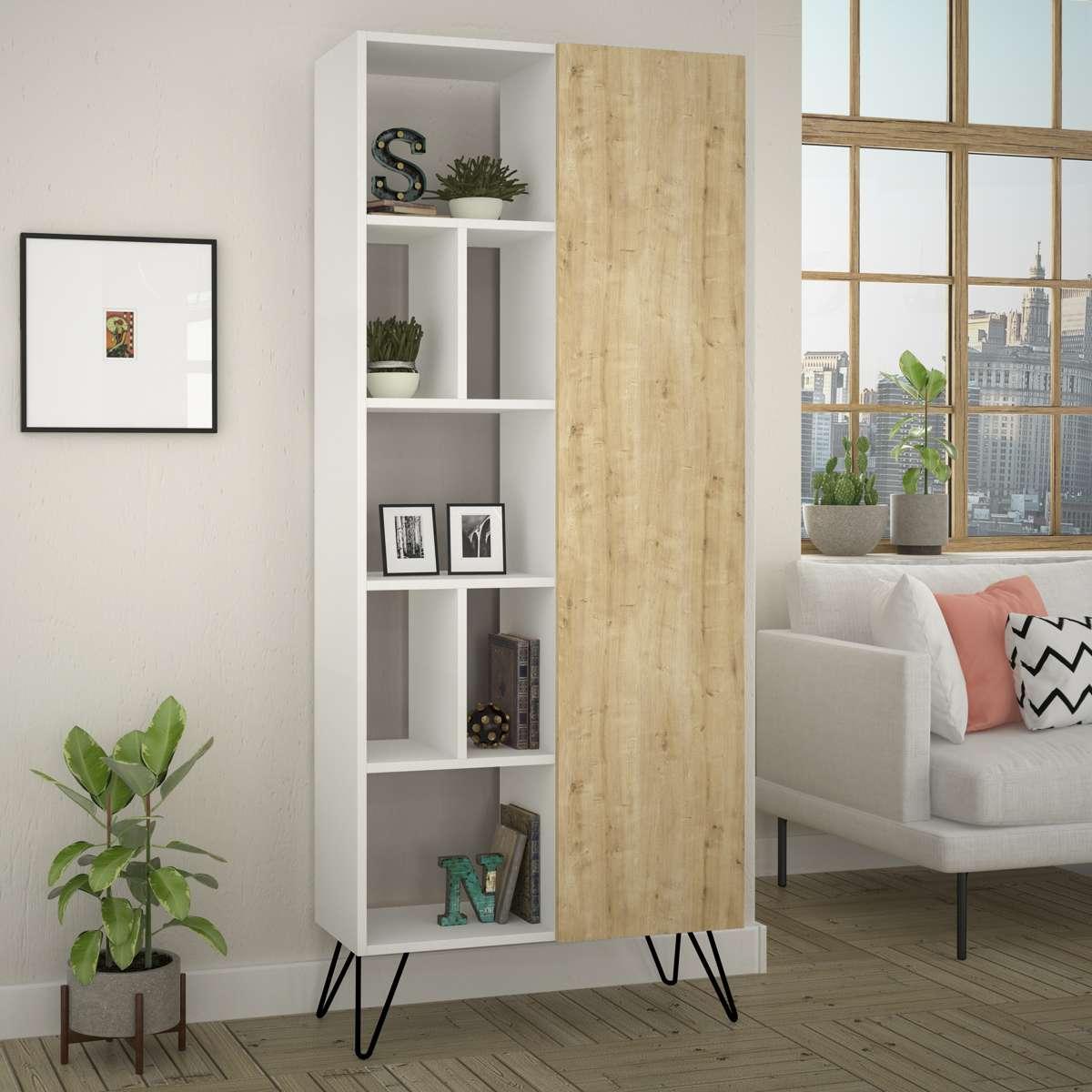 כוננית Jedda Bookcase לבן/אלון מסדרת Decoline