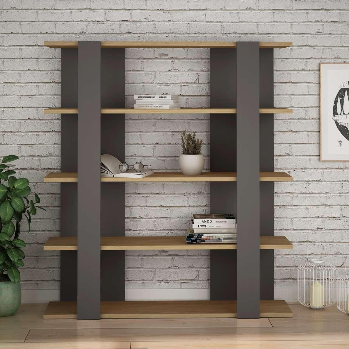 כוננית Tita Bookcase אפור/אלון מסדרת Decoline