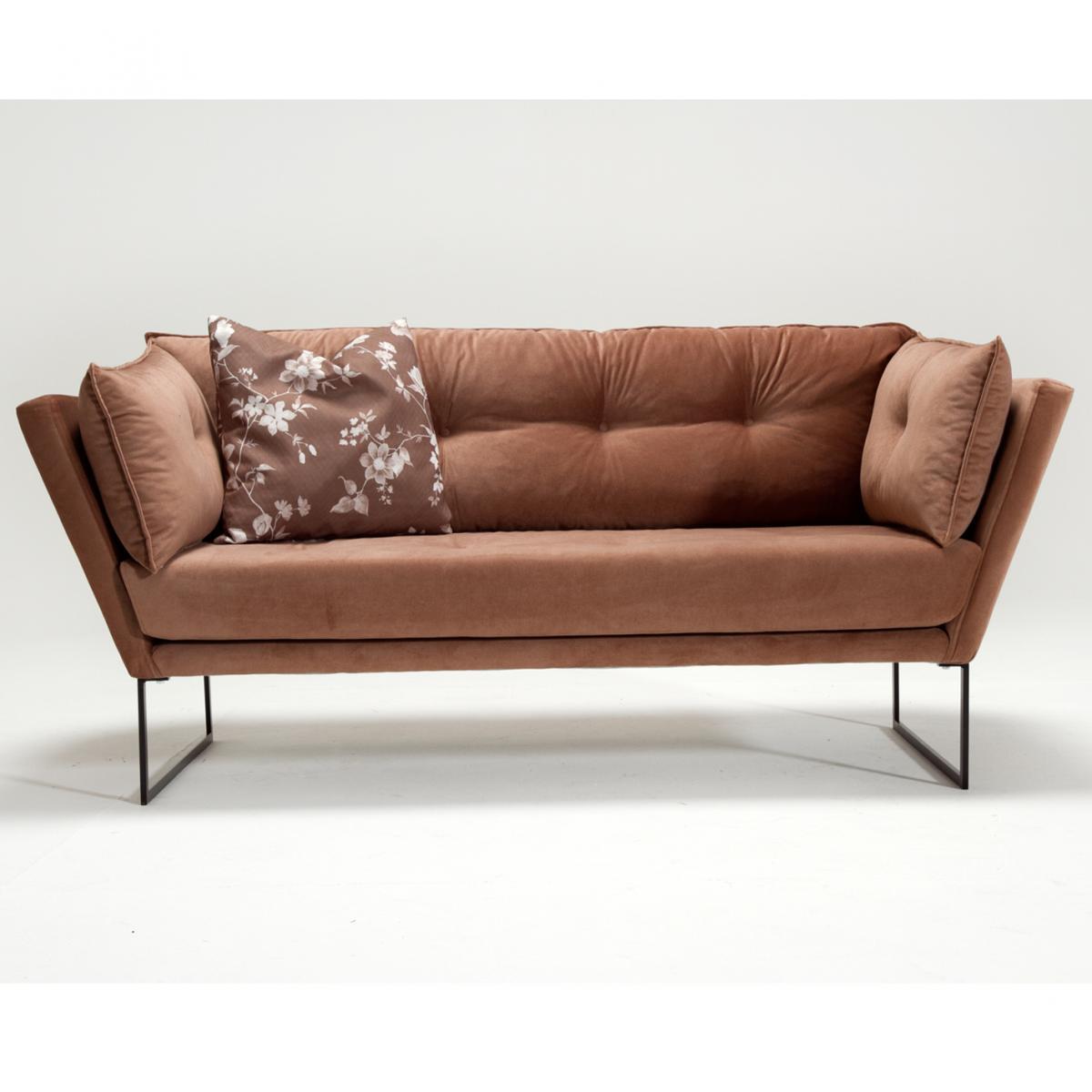 ספה דו Relax בד קטיפטי חום מסדרת Mezza