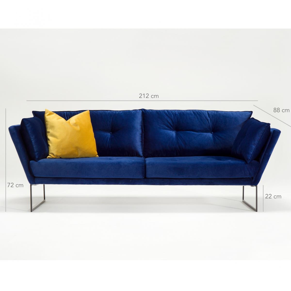 ספה תלת Relax בד קטיפטי כחול מסדרת Evdebiz