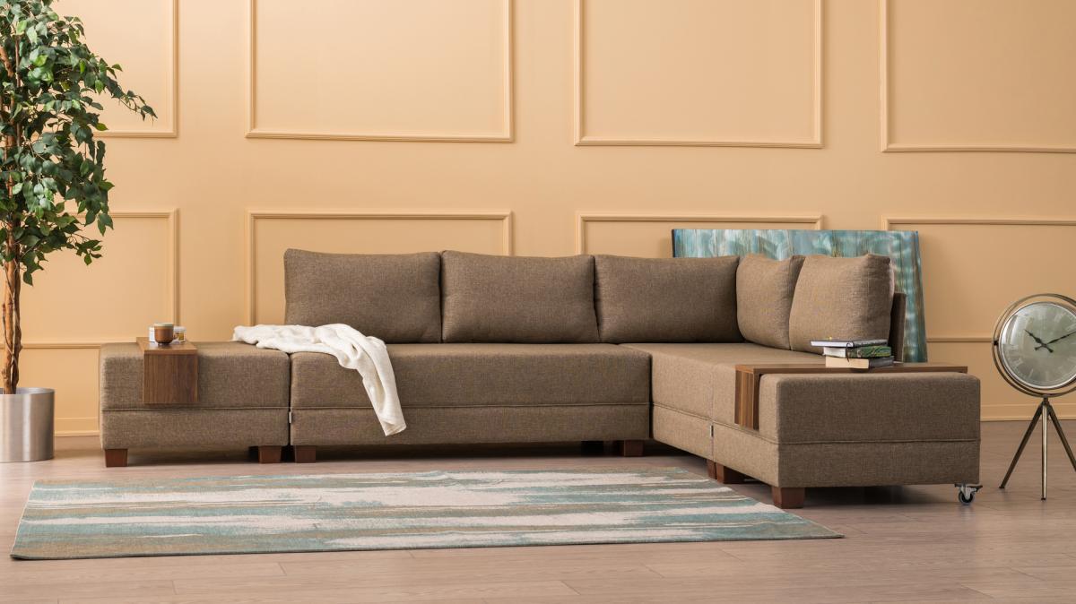 ספה פינתית ימין נפתחת למיטה FLY חום מסדרת Mezza