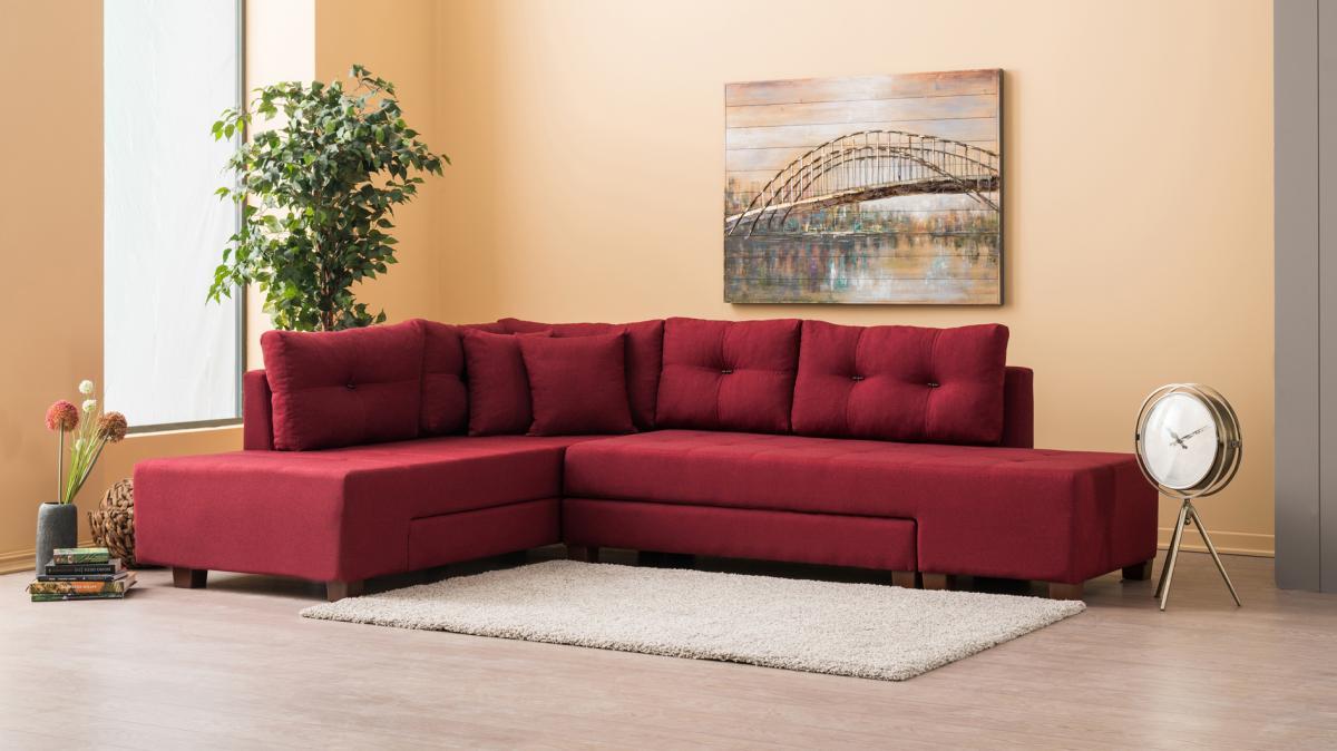 ספה פינתית שמאל נפתחת למיטה Manama בורדו מסדרת Evdebiz
