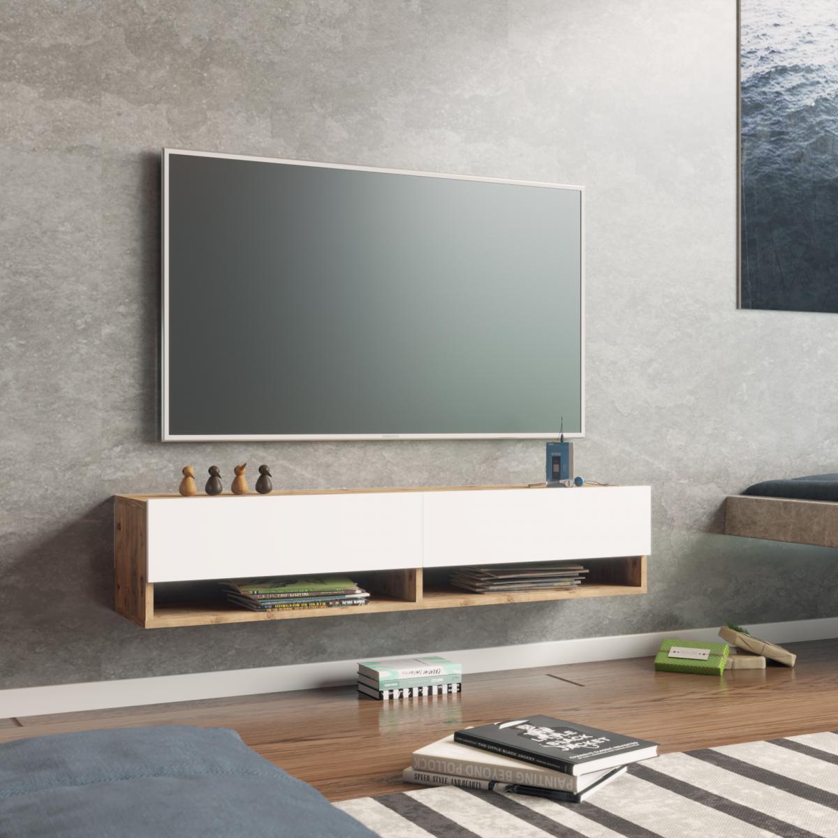 מזנון טלוויזיה תלוי FR11-AW אלון/לבן 140ס