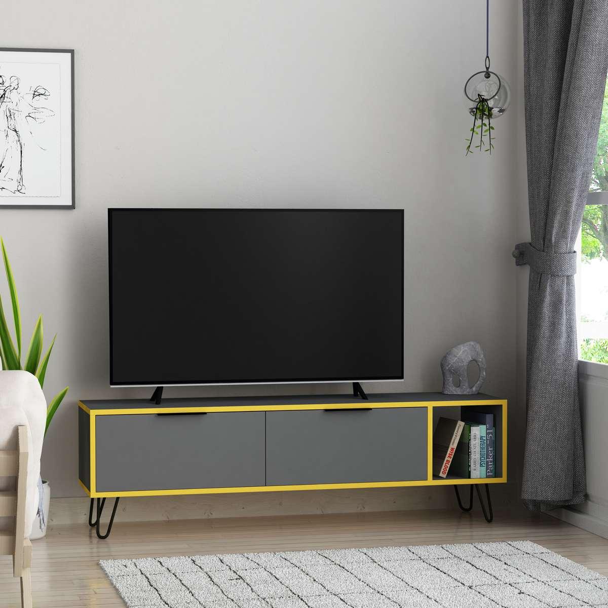 מזנון טלוויזיה Furoki אפור/צהוב 150 ס