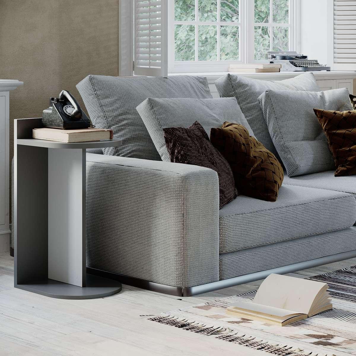 שולחן סלון  DOM COFFEE TABLE אפור/לבן מסדרת Decoline