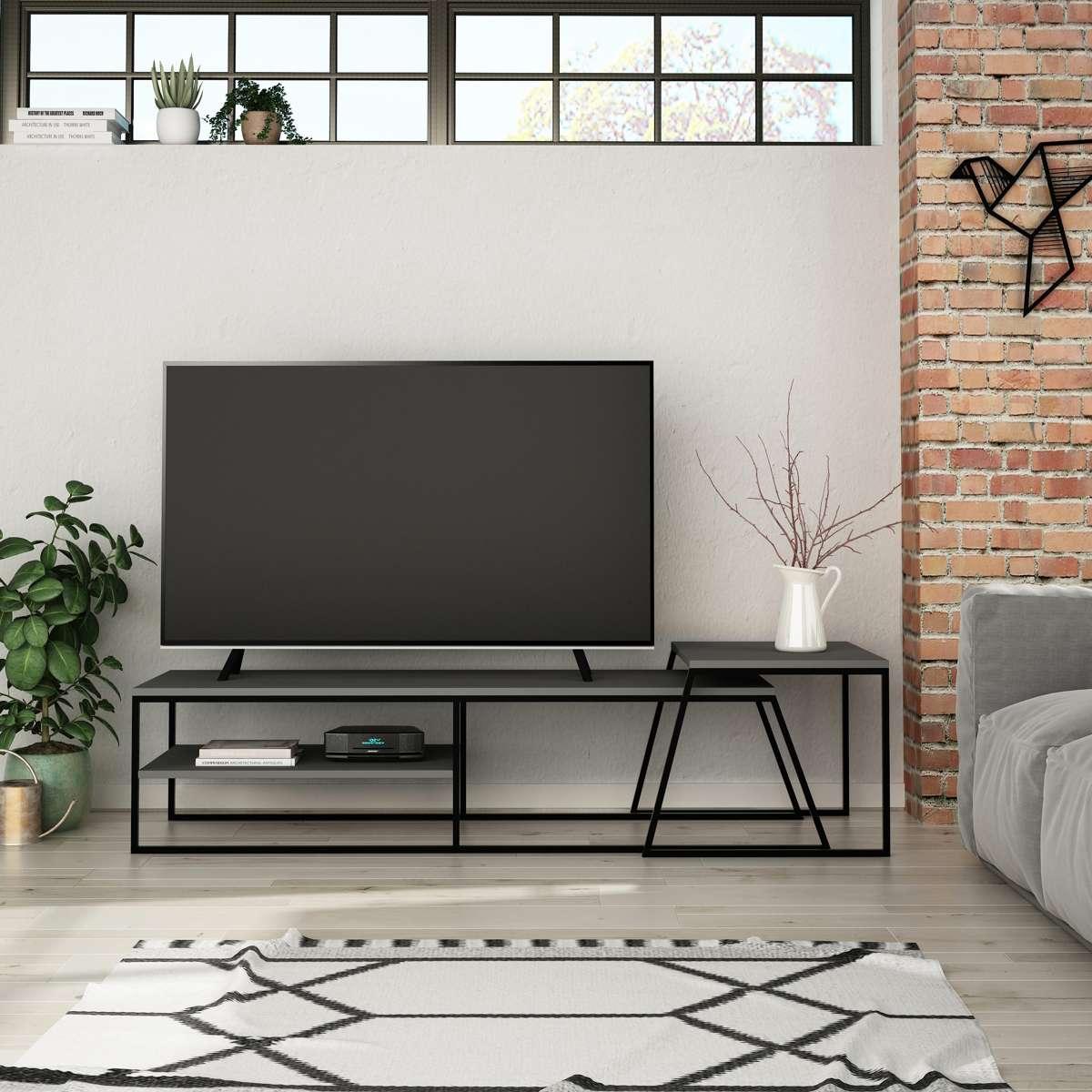 מזנון טלוויזיה  + שולחן סלון PAL TV STAND אפור 163ס