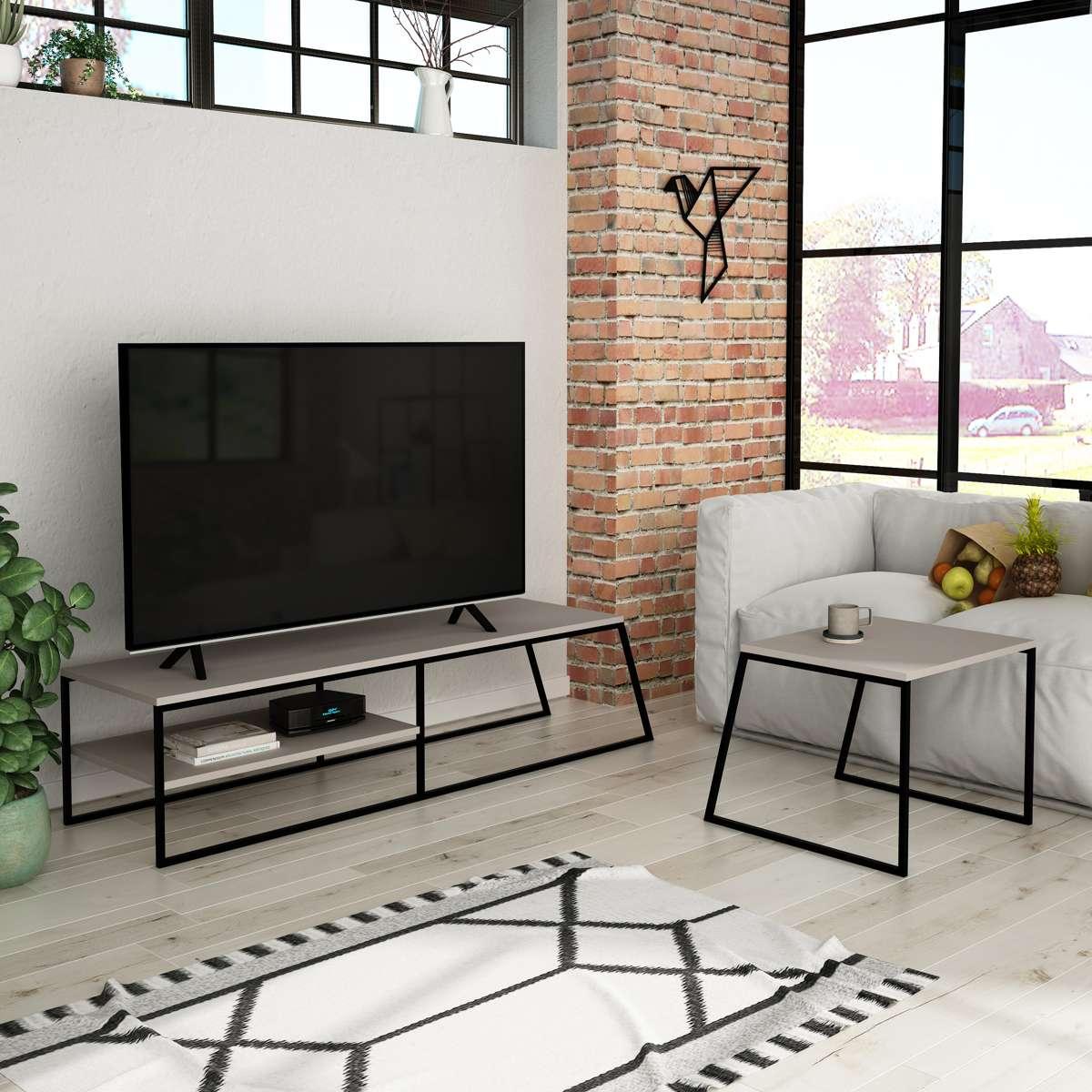 מזנון טלוויזיה  + שולחן סלון PAL TV STAND מוקה 163ס