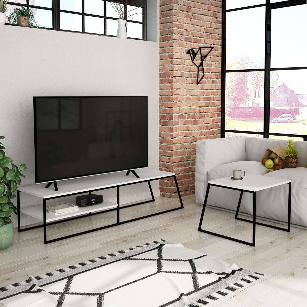 מזנון טלוויזיה  + שולחן סלון PAL TV STAND לבן 163ס
