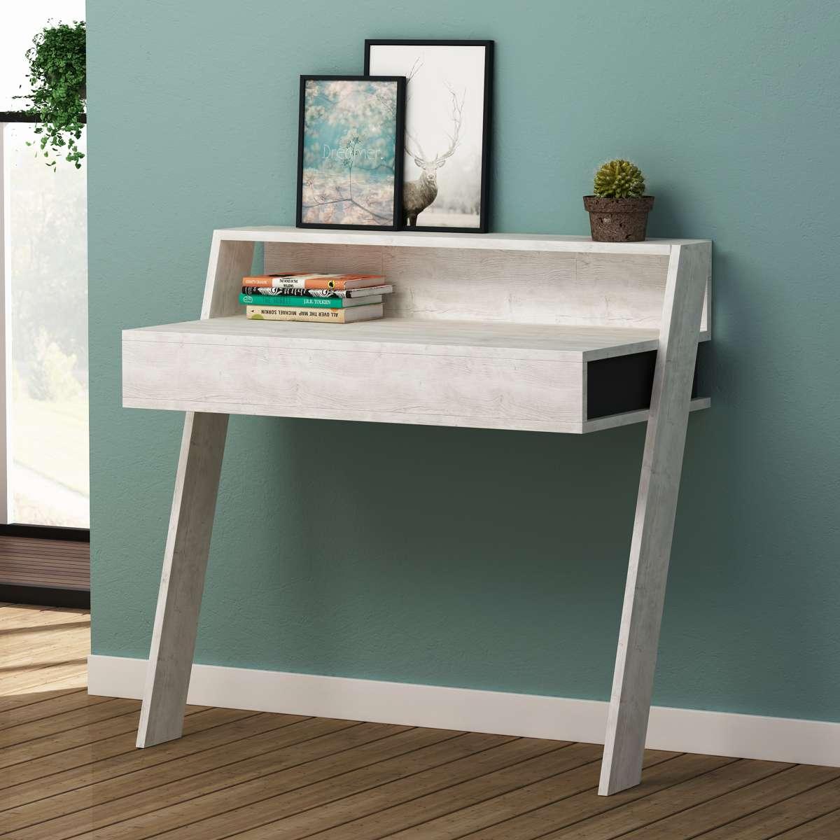 שולחן כתיבה Cowork Working table אלון מולבן/אפור מסדרת Decoline