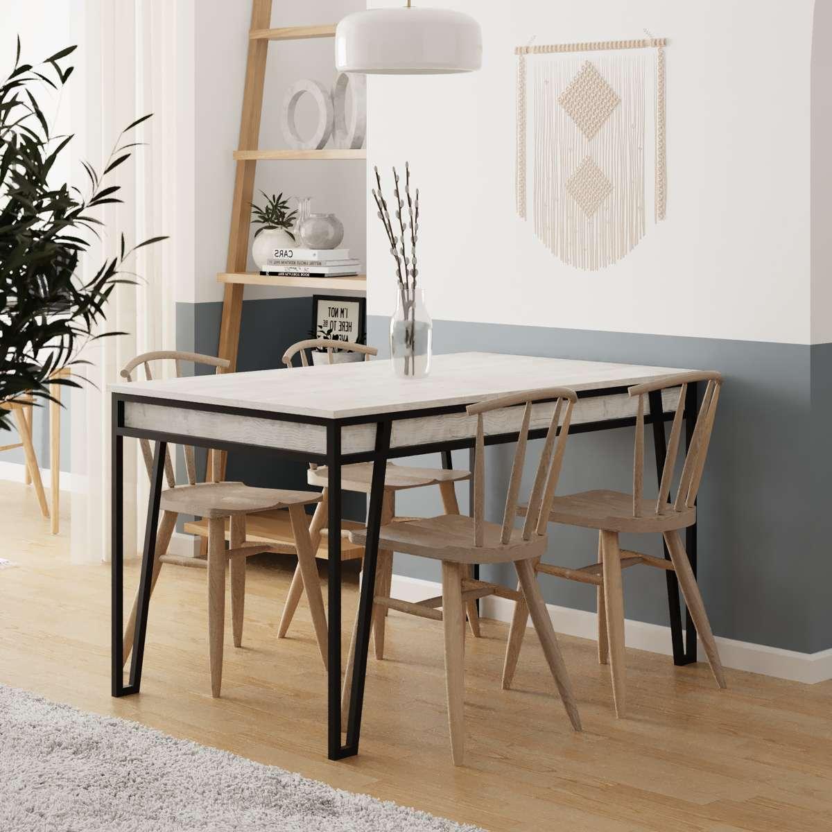 שולחן אוכל דגם Pal Dining Table אלון מולבן מסדרת Decoline