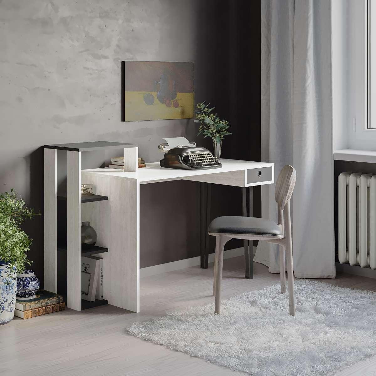 שולחן כתיבה Loyd Study Table אלון מולבן/אפור מסדרת Decoline